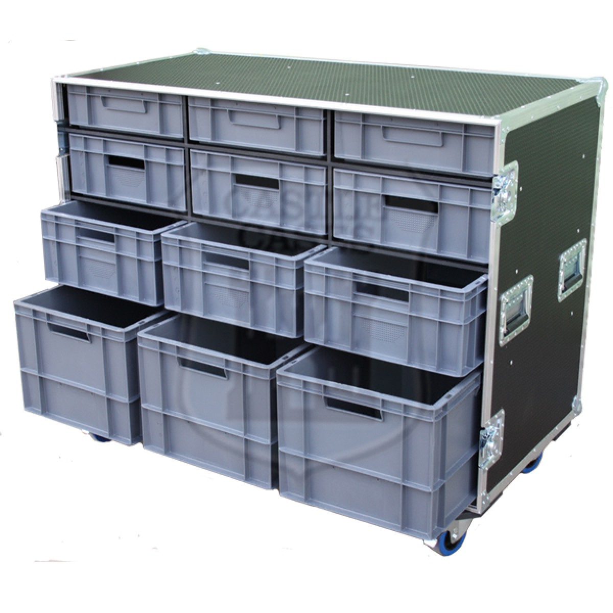 12 Drawer Storage Flight Case